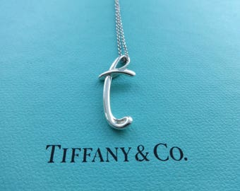 """Authentic Tiffany & Co. Elsa Peretti Sterling Silver Letter """"T"""" Initial Pendant Necklace"""