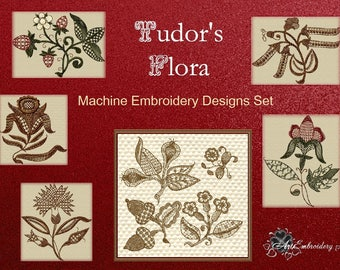 """Tudor's Flora - Colored and Monochrome Blackwork (BW) Machine Embroidery Designs Set of 22 designs for hoop 4x4"""" and 5x7"""""""