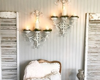 Crystal Wall Candle Holder Sconces Shabby Chic Set Of Two White Hand Painted Victorian Bathroom Decor