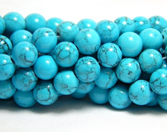 50 8mm Turquoise Beads, 8mm Blue Beads, Turquoise Beads, Blue Beads, Blue Howlite, Blue Magnesite, Bright Blue Beads, Blue Round Beads, D-L5