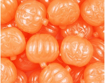 24 Orange Glow 20mm Jack O Lantern Pumpkin Halloween Themed Pony Beads