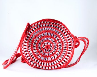 Upcycled purse / red bag / soda can tab bag / red purse / pouch made with recycled soda can tabs and crochet.
