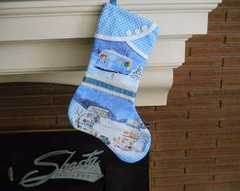 Christmas Stocking with Vintage Airstream & Vintage Trailers Print