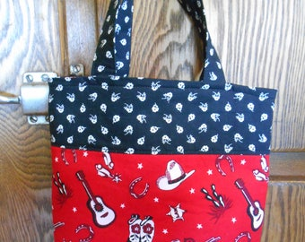 Small Lined Tote with Western Cowboy/Cowgirl Print