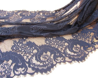 Chantilly lace fabric sold by yard,wedding Lace trim, 150cm Eyelash lace for lace dress-6597