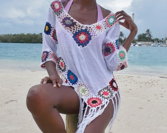 Multicolor crochet versatile beach cotton summer top shirt