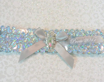 Prom Garters,    Silver Prom Garter,  Silver Sequin Prom Garter,  2017Prom Garter,  Garters