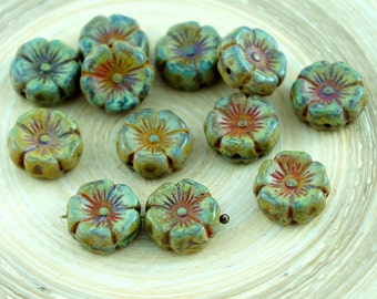 10pcs Rustic Picasso Brown Amber Yellow Czech Glass Flat Carved Hawaiian Flower Beads Coin 12mm