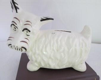 White West Highland Terrier Coin Bank Westie Bank Scottish Terrier Bank Scottie dog bank Scotty dog bank Still bank Scottie figure