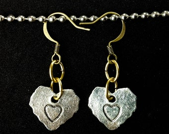 Mix Metals with love and a heart stamped on heart shaped earrings