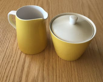 Mid century Mikasa yellow and white cera stone Sugar Bowl and Creamer Set
