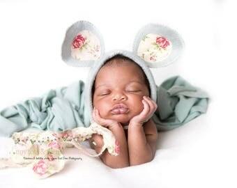 MinnieMousie, grey/rose, newborn size, photo prop, uk seller