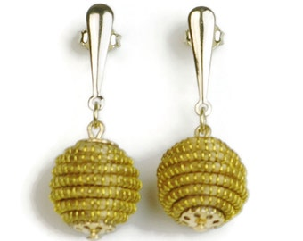 Dangle Earrings, Golden Grass Bead, Sphere Earrings, Golden Grass Earrings, Eco Earrings, Dangle Bead Earrings