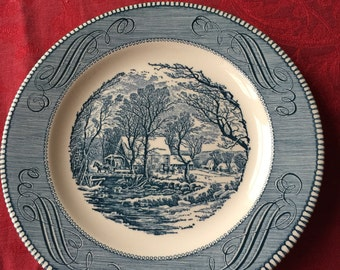 Three (3) Vintage Currier & Ives 'Old Grist Mill' Blue Transferware Plates.