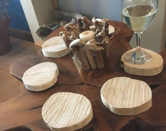 Recycled wood coasters (6) ; sustainable gift; wedding gift; housewarming; new home gift.