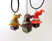 ON SALE - Wizard Hat D20 Dice Necklace Pendant, Polymer Clay w/ Many Die Colors, Sorcerer, Gamer Jewelry, DnD, D&D, RPG, Tabletop Gaming