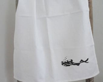 Tea towel» diver «screenprint».