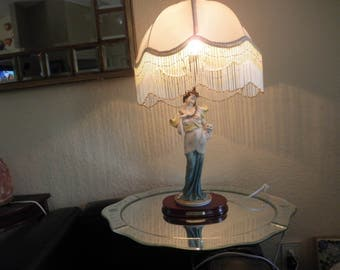 """Table Lamp """"The Angelica Collection"""" Figurine with Lamp and Satin Shade Beaded"""