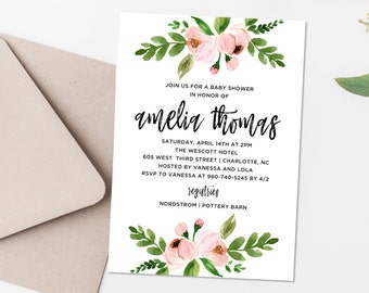 Pink Rose Baby Shower Invitation, 5x7 Personalized Baby Shower Invite, Watercolor Rosebuds, Spring Floral Bouquet, Couples Shower BLM