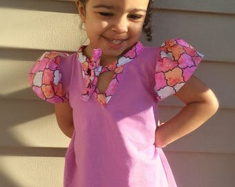Purple and pink angel sleeve A line tunic top • babies/ toddler/girl top • Made to order