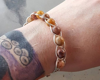 Natural Agate Beaded Bracelet//Silver Plated Non Tarnish Wire