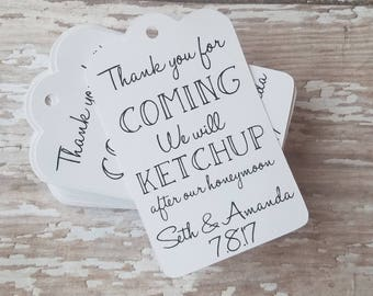Mini Ketchup Bottle Tags, Wedding Favor Tags, Wedding Tags, Ketchup Tags, Catsup Tags, Bridal Shower, Wedding Favor, We will Ketchup (176)
