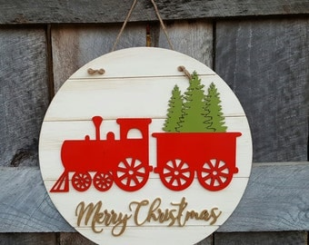 Merry Christmas Train Wreath - Christmas Door Hanger - Rustic - Farm - Country Christmas Decor
