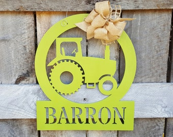 Personalized Tractor Door Hanger - Tractor Wall Hanging - Farm Decor - Gift