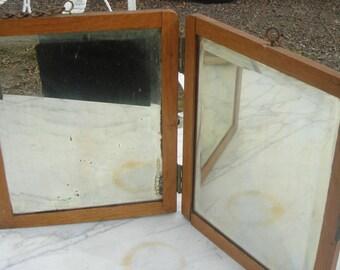 Antique beveled folding mirror / beveled oak framed travel  shaving mirror