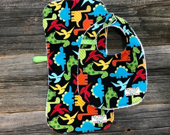 Baby Boy Bib and Burp Cloth - Dinosaur Baby Bib - Baby Burp Cloth - Terry Cloth Bib - Baby Gift - Gift Wrapped