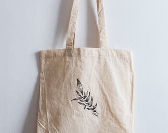 Leaf / Hand illustrated organic cotton tote bag