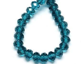 1 Strand Dark Cyan Faceted Rondelle Glass Beads 4x3mm ( No.15A)