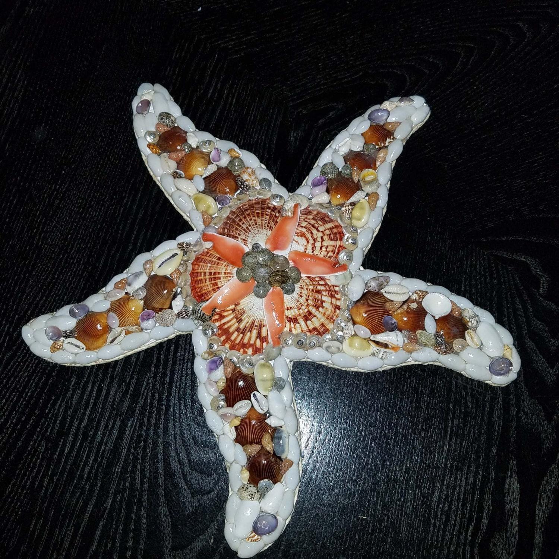 Seashell Starfish Wall Plaque Handmade Seashell Home Decor