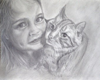 Custom Pencil portrait custom  from photo 9x12 of pets or people