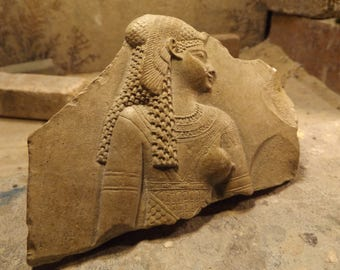 Egyptian art - Cleopatra dressed as the Goddess Isis - Relief sculpture fragment