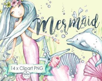 Mermaid Clipart,Mermaid invitation,hand painted watercolor, dolphin, shells, printable, planner stickers, planner girl, cute mermaid,clipart