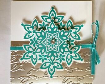 Snowflake Gift Card - Chocolate - Tea bag Christmas Holiday Holder