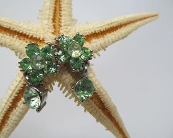 Green Flower Dangle Stud Earrings