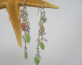 Drop earrings - silver chain, pink and green beads - hook