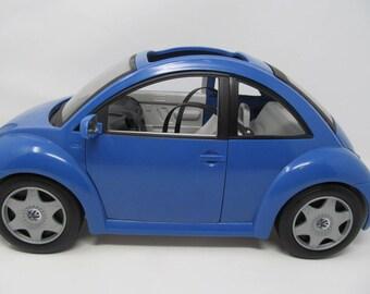 "Barbie Blue Volkswagen Beetle Car - 16"" long, 8"" tall, doors and trunk both open, convertible roof"