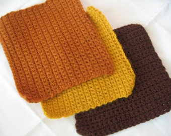 Potholders Crocheted in Fall Colors
