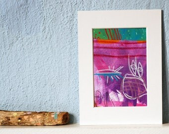 small, colorful painting, abstract, mixed media on paper,