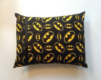Batman with black grosgrain and black ric rac Accent Pillow/Travel Pillow/Baby Pillow