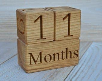 SALE Wood Baby Age Blocks for Baby Shower New Baby Birthday Gift Idea Milestone Blocks Photo Props Nursery Decor Maternity Weeks Month Block