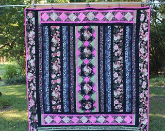 Handmade Quilt:  Blank, Pink, Green