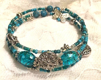 Aqua Blue Teal Bangle Memory Wire Bracelet Dragonfly Butterfly