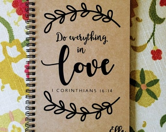 "Personalized Journal, ""Do Everything in Love"" 1 Corinthians 16:14"