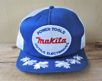 MAKITA Power Tools Outils Electriques Vintage 80s White Mesh Trucker Snapback Hat Embroidered White Maple Leaf Captain Cap French Canadian