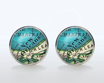 New Orleans Map Cufflinks Silver plated New Orleans Vintage Map Cuff links men and women Accessories Antique green blue black