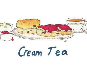 Great British Food Print - Traditional English Meals - A5 - Fish Chips - Steak Ale Pie - Chicken Tikka - Cream Tea - Full English Breakfast